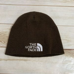North Face Brown Embroidered Beanie